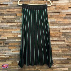Zara Black & Green Striped Micro Pleat Midi Skirt